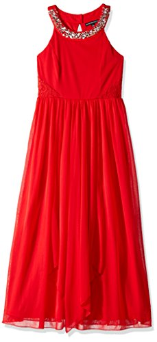 My Michelle Girls' Big Halter Dress with Jeweled Neckline, red, 8