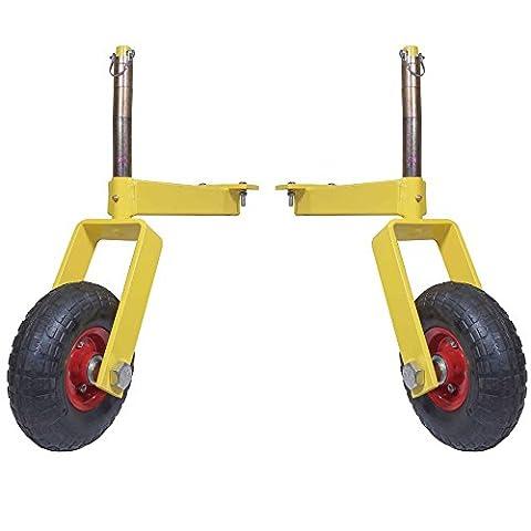 Pair of Titan Landscape Rake Wheel Attachments Adjustable Height - Adjustable Rake