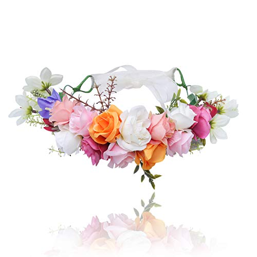AWAYTR Flower Crown Bohemian Floral Headdress Female Flower Headband Hair Wreath Wedding Hair Accessories (Orange + White + Pink)]()