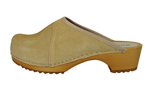 Buxa Ladies Natural Suede/Wooden Clogs with Central Seam Design Light Brown Suede RMnQV2e3b