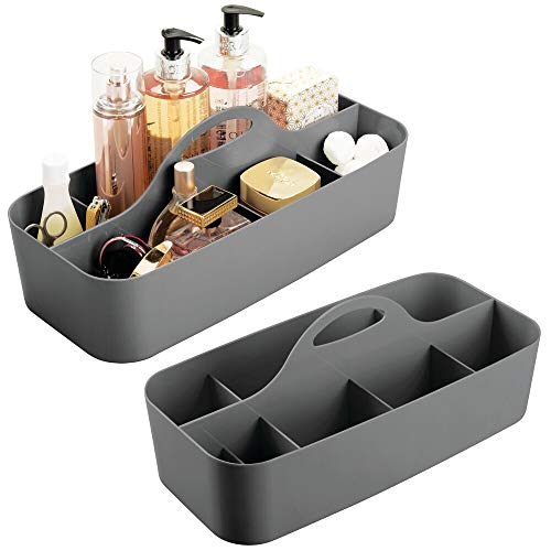 mDesign Plastic Portable Storage Caddy Tote - Divided Basket Bin with Handle for Bathroom, Shower, Dorm Room - Holds Hand Soap, Body Wash, Shampoo, Conditioner, Lotion - 2 Pack - Charcoal Gray