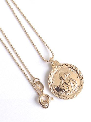 Saint Jude Medal gold plated chain 17 inches 45 cm long St Jude Necklace