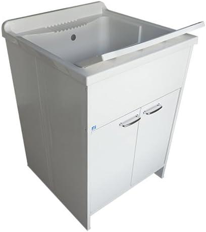 cuve et planche /à laver 2 portes Meuble lavabo pour int/érieur ou ext/érieur en r/ésine de couleur blanche dimensions 60 x 50 x 88 cm