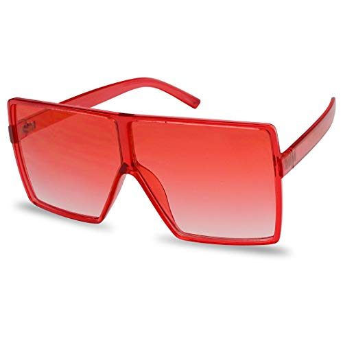 SunglassUP Oversized Festival Candy Colored Tone Square Crystal Frame Sunglasses (Red Frame | Red)