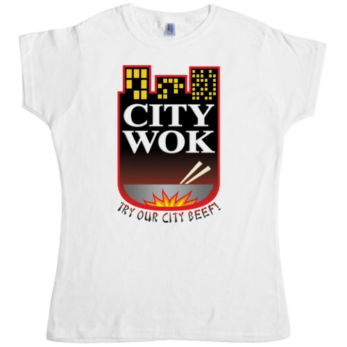 Womens Inspired By South Park T Shirt - City Wok - White - Medium -