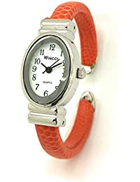 Ladies Small Oval Case Snakeskin Leather Bangle Cuff Fashion Watch White Dial Wincci (orange)