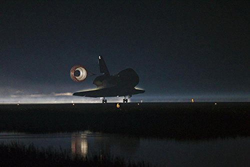 Space Shuttle Landing Atlantis (Gifts Delight LAMINATED 36x24 inches Poster: Space Shuttle Atlantis Landing Drag Chute Deployed Runway Night Parachute Astronaut Mission Complete)
