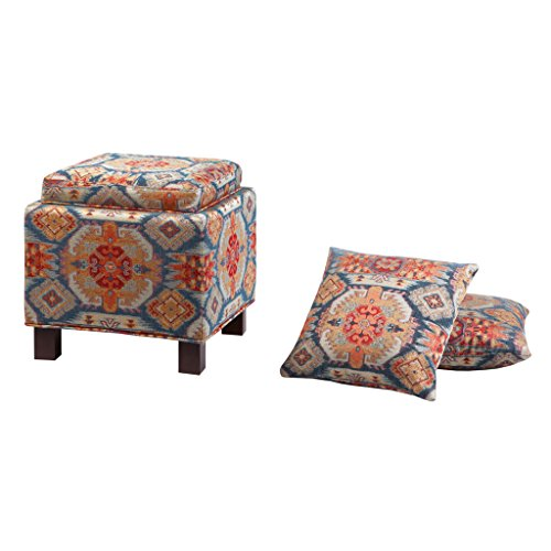 Madison Park Shelley Storage Ottoman with Reversible Tray Solid Wood, Polyester Fabric Toy Chest Organizer Modern Style Footsool With Matching Pillow, See below below, Red Bohemian