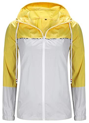 ZEGOLO Women's Raincoats Waterproof Packable Colorblock Windbreaker Lightweight Active Outdoor Hooded Rain Jacket S-XXL (Hood No Lining)