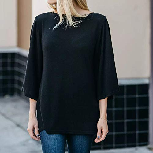O Tops O Femmes Solid Manches Noir Femmes ChemisierFOANA Tops Longues Neck FOANA Chemisier Loose Solid Neck Loose Longues Manches wF6qtt7n