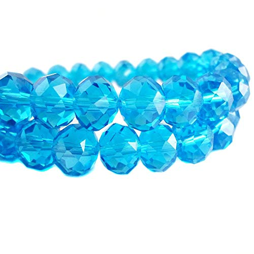 BeadsOne 12mm - 32 pcs - Glass Rondelle Faceted Beads Swiss Baby Blue for jewerly making findings handmade jewerly briolette loose beads spacer donut faceted Top Quality 5040 (C19) ()