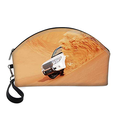 Desert Decor Small Portable Cosmetic Bag,Suv Truck Pick Up Big Car with Huge Wheels Driving through the Sand Hills For Women,One -