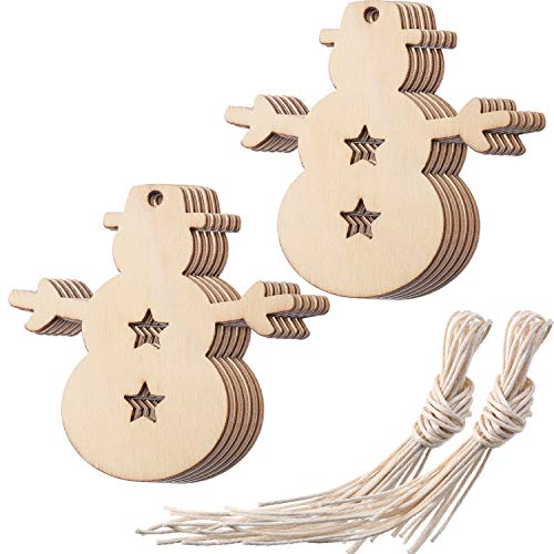 Tatuo Wooden Snowman Christmas Ornaments Cutouts Embellishments for Christmas Hanging Decoration and DIY, Pack of 20 -