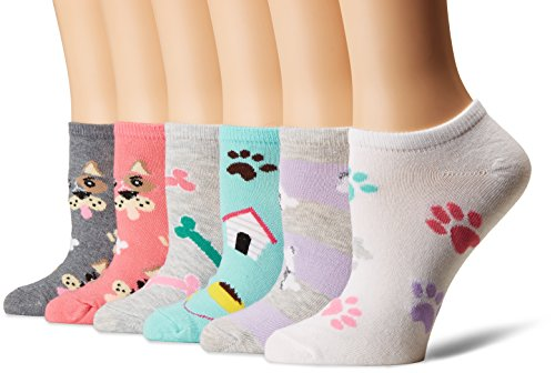 K. Bell Women's 6 Pack Novelty No Show Low Cut Socks, Dogs (Pink), Shoe Size: 4-10 ()
