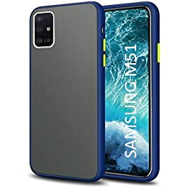 AE Mobile Accessories Back Cover for Samsung M51 Froasted Smoke Hard Matte Finish with Soft Side Frame Fit Protective Back Case Cover (Blue)