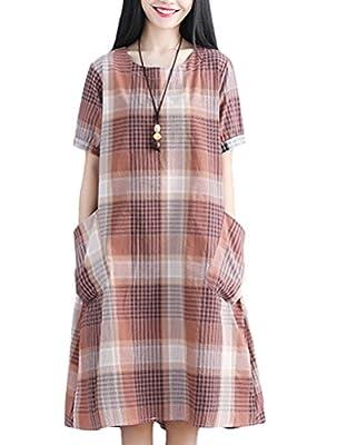 Mordenmiss Women's New Classic Plaid Shirt Dress Short Sleeve Dress with Pockets