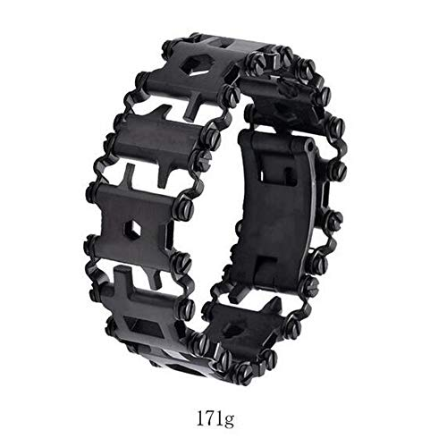 Senior Original material Outdoor Spliced Multi Tool Bracelet Stainless Multi-function Tool Survival Bracelet,Black