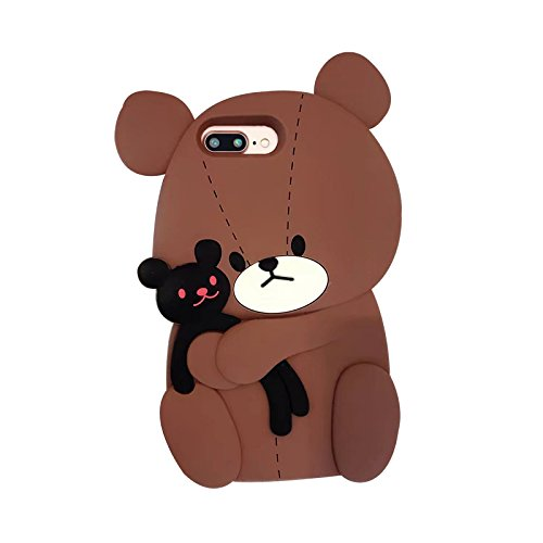 Brown Color 3D Cartoon Bear Hugging Black Bunny Case for iPhone 7Plus 8Plus 7+ 8+ Large Size Soft Silicone Rubber Ultra Thick Protective Shockproof Cute Lovely Japanese Gift for Kids Boys Teens Girls