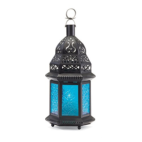 blue glass moroccan lantern