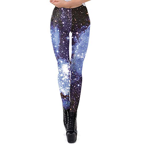 Idingding Ugly Christmas Leggings for Women, Funny Holiday Galaxy Star Warm Printed Leggings Pants, Upgraded Blue, XS