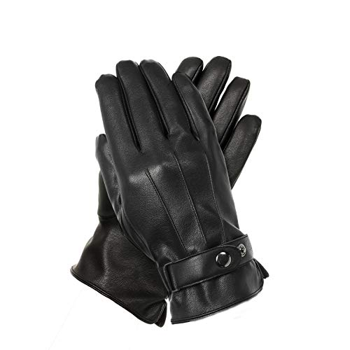 Soul Young Mens Black PU Leather Touchscreen Texting Driving Gloves For Winter With Gift Box