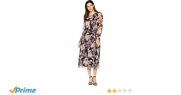 246fa4d49a Vince Camuto Women s Long Sleeve Timeless Blooms Cinch Waist Dress at  Amazon Women s Clothing store