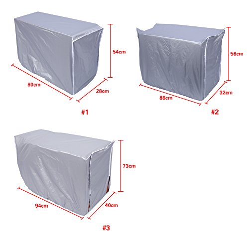 Yosoo Air Conditioner Cover, Anti-Dust Anti-Snow Conditioner Protector for Outdoor Use, Rectangle, Silver (Size: 31×11×21inch/2.62×0.92×1.77ft) by Yosoo (Image #5)