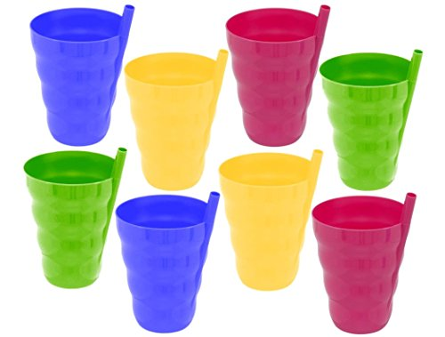 10 Ounce Straw Cup - Green Direct Cup With Straw 10 Oz Plastic Cup with Built in Straw for Kids Assorted Colors (Pack of 8) Sippy Cup