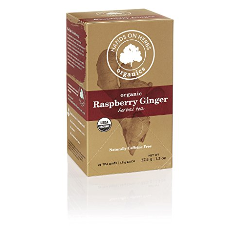 Perfect Food Red Raspberry - Hands on Herbs Organics Raspberry Tea with Ginger | A perfect and Delicious Pairing of Red Raspberry Fruit and Ginger root | Flavorful, Aromatic and Warming Herbal Tea 25 individual tea bags (1 box)