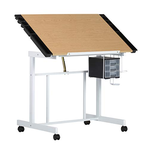 - Studio Designs Deluxe Craft Station, Top Adjustable Drafting Table Craft Table Drawing Desk Hobby Table Writing Desk Studio Desk with Drawers, 36''W x 24''D, White / Maple
