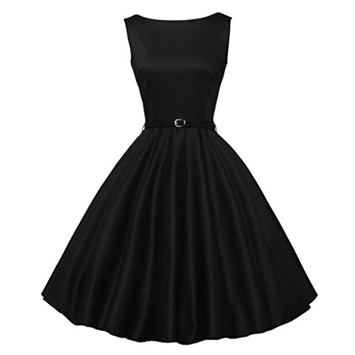 Kangma Women Bodycon Sleeveless Casual Retro Evening Party Prom Swing Vintage Dress (Dresses Teen Homecoming)