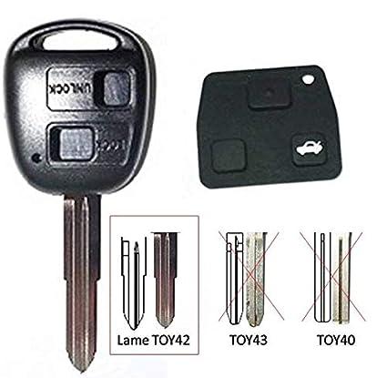 Carcasa de llave genérica compatible para Toyota / Land Cruiser 2 botones Corolla, Celica, Rav4, Yaris Avensis