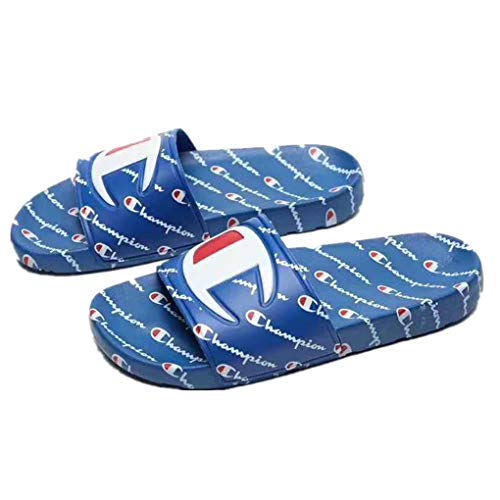 Champion Slippers Ipo Repeat Mens/Womens Synthetic Slides Slip On Sandals Shoes Blue ()