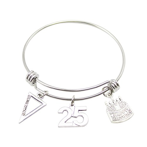 Birthday Bracelet Age Gift Bangle Stainless Steel Expandable Charm with Birthday Cake (25th)