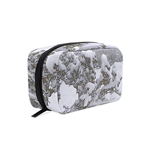 Cosmetic Makeup Bag Pouch White Nature Snow Winter Branch Frost Clutch ()