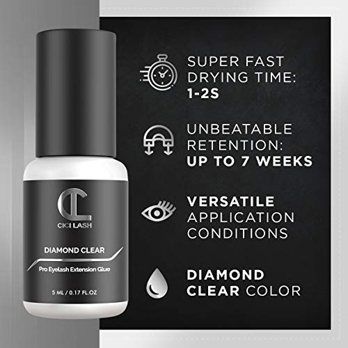 Diamond Clear Eyelash Extension Glue for Professionals - Maximum 7 Week Retention / 1-2 Second Drying Time Semi Permanent Individual/Volume Lash Extension Glue with Transparent Color - Latex Free 5g 3