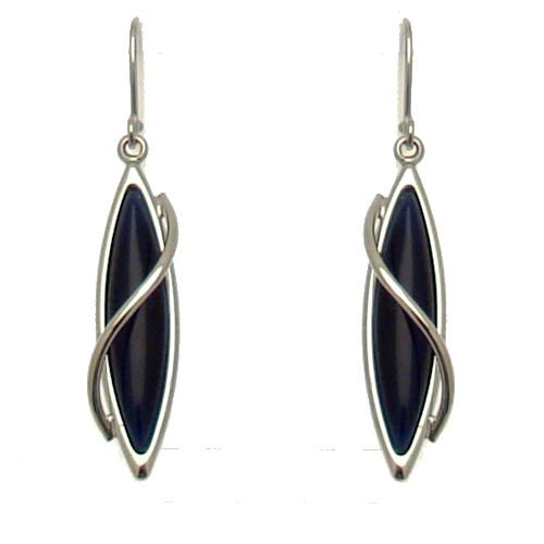 Acosta Jewelry - Midnight Blue Cats Eye Stone - Stylish Swirl Drop Earrings (Silver Coloured) - Gift Boxed