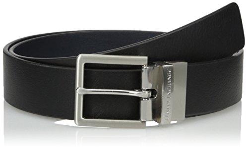 Armani Exchange Men's Skinny Leather Belt Accessory, black/navy/black/navy, 32