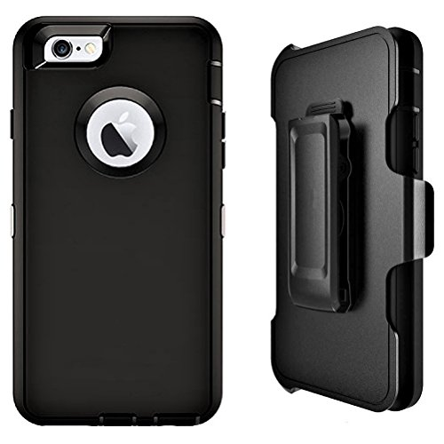 LongRise iPhone 8 Case Shockproof 4 Layer Belt Clip Case for iPhone 8 and iPhone 7 4.7 inch (Black)
