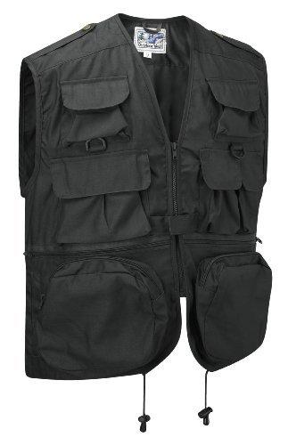 Multi-Pocket Vest Waistcoat Gilet (L, Black)