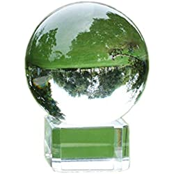 """COCOScent Clear Crystal Ball, Art Decor K9 Crystal Prop for Sphere Photography Decoration (60mm(2.36"""")_K9 Clear with Stand)"""