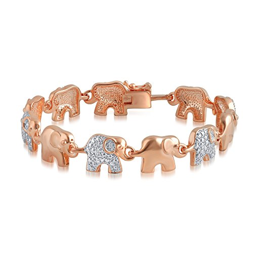 Rose Gold Plated Diamond Accent Elephant Bracelet