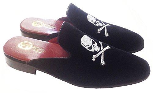 Garofalo Gianbattista slippers modello sabot in velluto con ricamo teschio