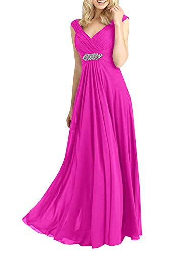 Neck Formal Bess Long Women's Prom Beaded Dress Chiffon Evening Bridal V Party Fuchsia wSSxqI0