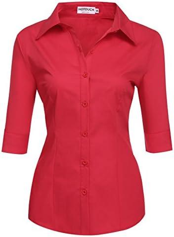 Hotouch Women Cotton Short Sleeve Slim Fit Button Down Dress Shirt Red L