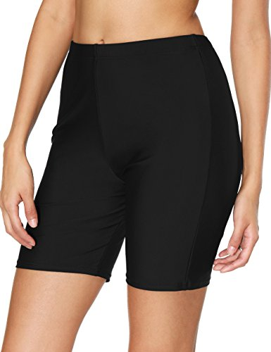 Womens High Waisted Swim Shorts Full Coverage Boyleg Swim Shorts Tankini Bottoms,Black-trunks,Medium