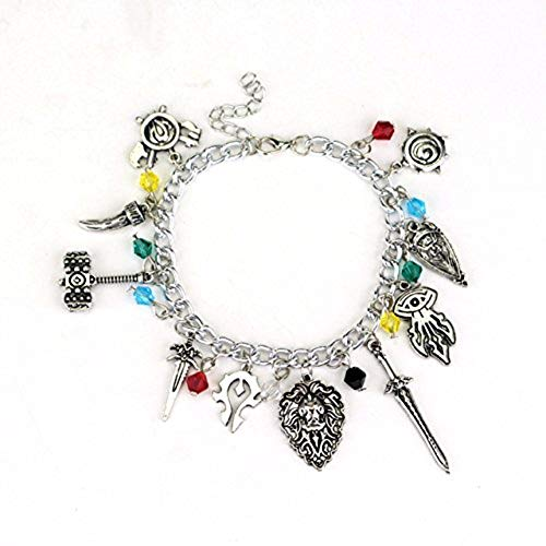 World of Warcraft 10 Themed Charms With Plastic Gems Metal Charm Bracelet]()