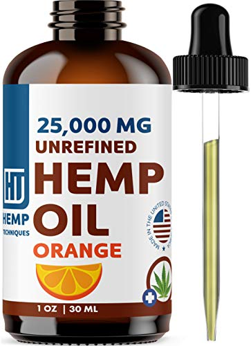 Hemp Oil Orange 25,000 MG - Natural Extract for Pain, Anxiety and Stress | Omega 3&6 Fatty Acids Rich | Better Sleep | Great for Skin | Vegan Friendly | Organic