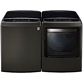 LG PAIR SPECIAL-Mega Capacity High Efficiency Top Load Laundry System with ELECTRIC Dryer in Alluring Black Stainless (WT1901CK +DLEY1901KE)