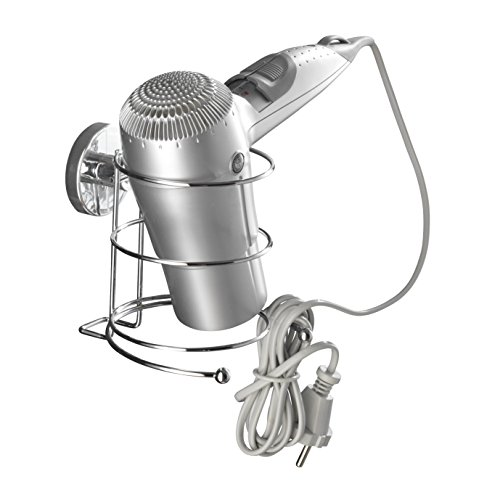 WENKO 20896100 Vacuum-Loc hair dryer holder - fixing without drilling, Steel, 5.3 x 5.3 x 5.1 inch, Chrome